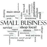 Small Business Word Cloud Concept with Shopping Cart Royalty Free Stock Photography