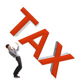 Small businessman afraid of big taxes. Stock Photography