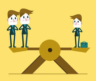 Small businessman weighting balance with two other big business people. Human resource concept. stock illustration