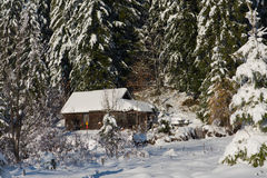 Small cabin covered with fresh snow Stock Photography