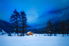 Small cabin in Mountain Valley Royalty Free Stock Image