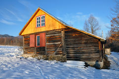 Small cabin in the mountains at winter Stock Photography