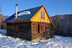 Small cabin in the mountains at winter Stock Photos