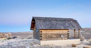 Cabin overlooking a desert prairie Stock Photos
