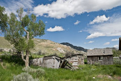Small Cabins. In the ghost town of Bannack, Montana. Might be part of bachelor's row royalty free stock photography