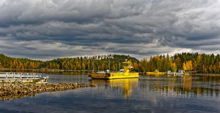 Small cable ferry Royalty Free Stock Photo