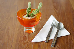 Small Cactus with silverware on Wood Table. Small Cactus in Orange Glass with silverware on Wood Table Stock Image