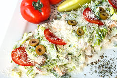 A small Caesar Salad with shredded parmesan cheese, croutons and Royalty Free Stock Photo