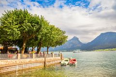 Small café in Sankt Wolfgang town at Wolfgangsee lake, Austria Royalty Free Stock Images