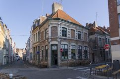 A small cafe on the corner in the old part of the city. Lille, France. royalty free stock photo