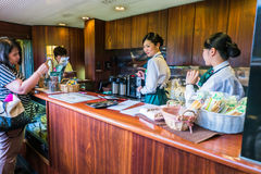 Small cafe in the express train Yufuin no Mori Royalty Free Stock Image