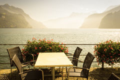 A small cafe on  lake Brunnen in Switzerland. Retro vintage  sty Stock Images