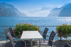 A small cafe on  lake Brunnen in Switzerland. Stock Photography