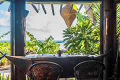 Small cafe in tropics, lounge area Stock Photos