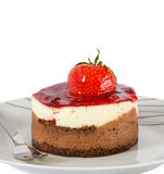 Small cake with chocolate and strawberry Royalty Free Stock Images