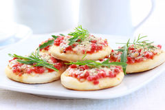 Small cakes as appetizer Royalty Free Stock Images