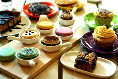 Small Cakes and Sweet Desserts. Photo of small cakes and sweet desserts Royalty Free Stock Photos