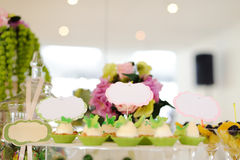 Small Cakes on Table Stock Photo