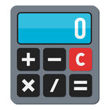 Small Calculator Flat Icon Isolated on White. Small calculator flat icon, isolated on white background. Eps file available Stock Photos