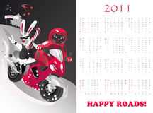 Small calendar. Calendar  2011, year of cat or rabbit, vector illustration Royalty Free Stock Photos
