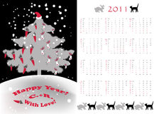 Small calendar tree. Double-sided calendar 2011,  vector illustration Royalty Free Stock Image