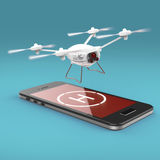 Small camera drone hovering above the touchscreen of mobile smartphone with helipad sign on screen. Concept for  remote Stock Photography