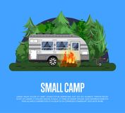 Small camp poster with travel trailer. Small camp poster with bonfire and travel trailer in deep forest. Car RV trailer caravan, compact motorhome, mobile home vector illustration