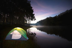 Small Camping Tent Illuminated Inside Stock Images