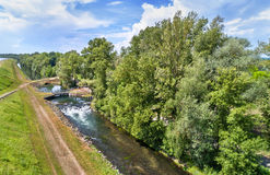Small canal along the Rhine in Bas-Rhin, France Royalty Free Stock Photography
