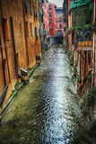 Small canal in Bologna downtown Royalty Free Stock Photo