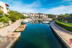Small canal in Porto Rotondo. Costa Smeralda, Sardinia stock images