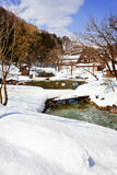 Small Canal Surrounded with Snow Stock Photos