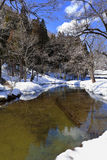 Small Canal Surrounded with Snow Royalty Free Stock Photography