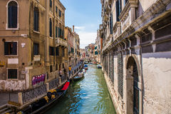 Small canal in Venice, Italy. Royalty Free Stock Photo