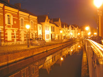 Small canals on the city. By night called the Hortillonnages - Amiens - France Royalty Free Stock Photo