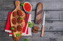 Free Small Canape Sandwiches With Fish Red Caviar Royalty Free Stock Photography - 72572027