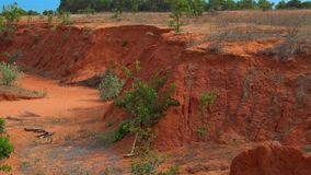 A small canyon in the red desert in Mui Ne, Vietnam.  stock video footage