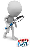 Small cap fund. Investing concept of small cap fund, little man looking at it in detail royalty free illustration