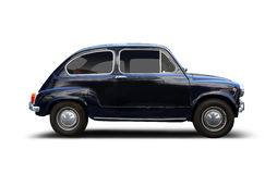 Small car. Small vintage car Fiat 600 on white. Produced by Fiat from 1955 to 1969. Includes very detailed clipping paths for shadow removal stock image