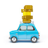 Small car adventure side. Small and cute blue retro travel car, side view with luggage on white background Stock Image