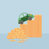 Small car on coin stacks. Royalty Free Stock Photos