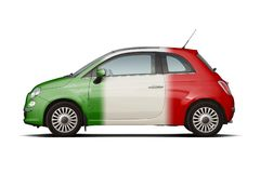 Small car in colors of italian flag Stock Images