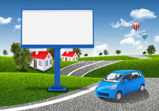 Small car and empty billboard Stock Photo