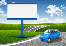 Small car and empty billboard Royalty Free Stock Image