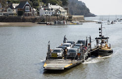 Small car ferry and a tugboat on River Dart UK Royalty Free Stock Photo