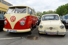 Small Car Fiat Abarth 750 and minibus Volkswagen Type 2 Royalty Free Stock Photography
