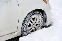 Small Car Front Wheel in Deep Snow Royalty Free Stock Photo
