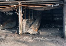 Small car garages that have been destroyed by a big fire, Vantaa Finland. Small car garages in the suburbs that have been destroyed by a big fire with , Vantaa stock photography