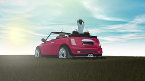 Small car on grass and summer Stock Photography