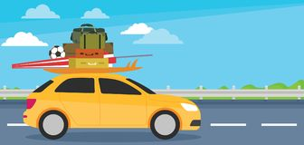 Small car going for holiday, Welcome vacation royalty free illustration